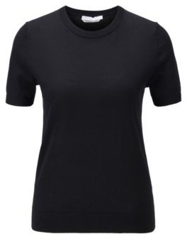 HUGO BOSS Short Sleeved Sweater In Virgin Wool - Black