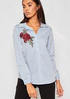 Missy Empire Dannia Cream Pinstripe Rose Badge Shirt