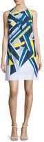 Milly Sleeveless Inkblot Printed Dress, Citron