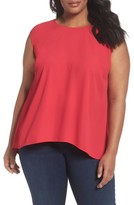 Sejour Plus Size Women's Cap Sleeve Pleat Back Top