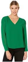 Vince Camuto Long Sleeve Smocked Sleeve Shoulder V-Neck Chiffon Blouse (Everglade) Women's Blouse