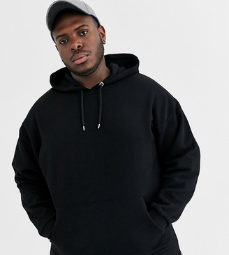 ASOS DESIGN Plus oversized hoodie in black with silver side zips