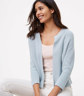 LOFT Cropped Ribbed Cardigan