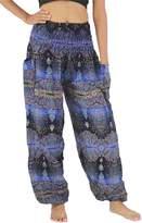 NaLuck Women's Boho Hippie Elephant Jumpsuit Smocked Waist Yoga Harem Pants PJ02