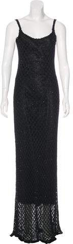Carmen Marc Valvo Lace Beaded Dress