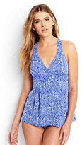 Lands' End Women's Long Swing Tankini Top-Electric Blue Bandana Paisley