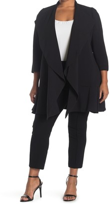 Anne Klein Crepe Cascade Open Front Cardigan