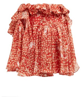 Preen by Thornton Bregazzi Dolores Ruffled Silk Blend Mini Skirt - Womens - Red