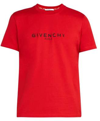 Givenchy Distressed-logo Cotton T-shirt - Mens - Red