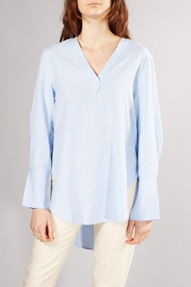 Selected BLUE PINSTRIPE ABBY BLOUSE - 36
