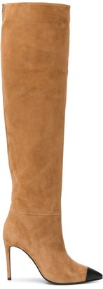 Grey Mer Pointed Toe Knee-Length Boots