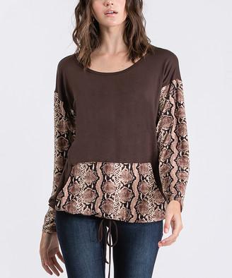 Cool Melon Women's Pullover Sweaters Brown - Brown & Snake Print Kangaroo-Pocket Drawstring-Hem Sweater - Women & Plus