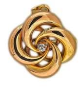 Vintage 14K Rose Gold with 0.15ct Diamond 4 Swirl Pin Fold Down Hinge Pendant