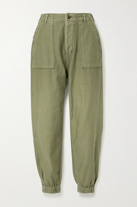 R 13 Cotton-twill Tapered Pants - Army green