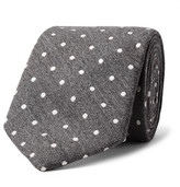 Richard James 7.5cm Polka-dot Wool And Silk-blend Tie - Gray