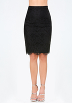 Bebe Scallop Lace Pencil Skirt