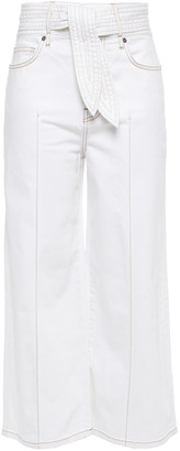 Joie Gadina Cropped Belted High-rise Wide-leg Jeans