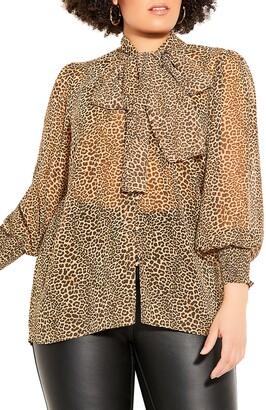City Chic Luxe Leopard Tie Neck Top