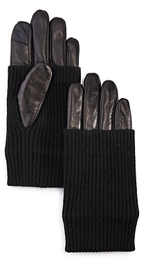 Echo Convertible-Cuff Leather Tech Gloves