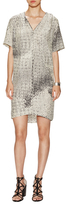 Halston Silk Printed V-Neck Shift Dress