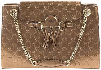 Gucci Bronze Gold Patent Leather Emily Large Chain Shoulder Bag