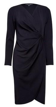 Dorothy Perkins Womens Black Manipulated Wrap Bodycon Dress, Black
