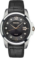 Seiko Men's Solar Le Grand Sport Diamond Accent Black Leather Strap Watch 42mm SNE427