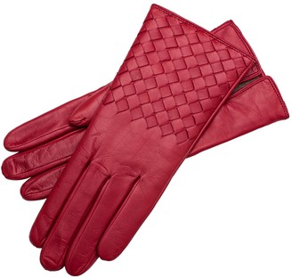 1861 Glove Manufactory Trani - Women's Woven Leather Gloves In Red