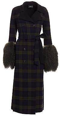 Akris Women's Elea Plaid Removable Shearling Cuff Coat