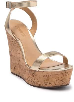 Schutz Eduarda Platform Wedge Leather Sandal