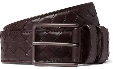 Bottega Veneta 3cm Brown Intrecciato Leather Belt