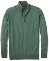 Mid Green Cotton Cashmere Zip Neck Jumper Size Large By Charles Tyrwhitt