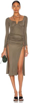 Dion Lee Silk Jersey Wire Dress in Slate Green | FWRD