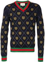 Gucci bear intarsia v-neck sweater - men - Wool - S