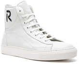 Raf Simons R Logo and Trashed Laces Leather Sneakers in Ecru