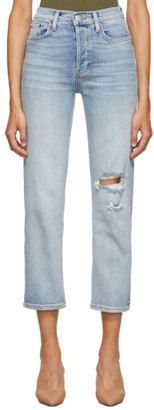 RE/DONE Blue Originals High-Rise Stove Pipe Jeans