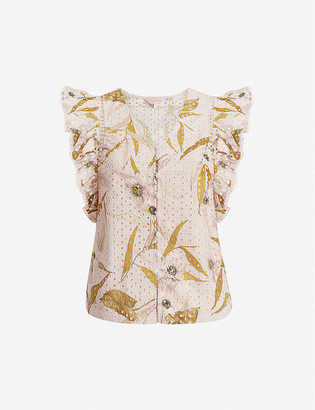 Ted Baker Adaale Cabana printed broderie anglaise cotton blouse