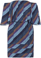 Vix Ivy Off-the-shoulder Striped Voile Mini Dress - Blue