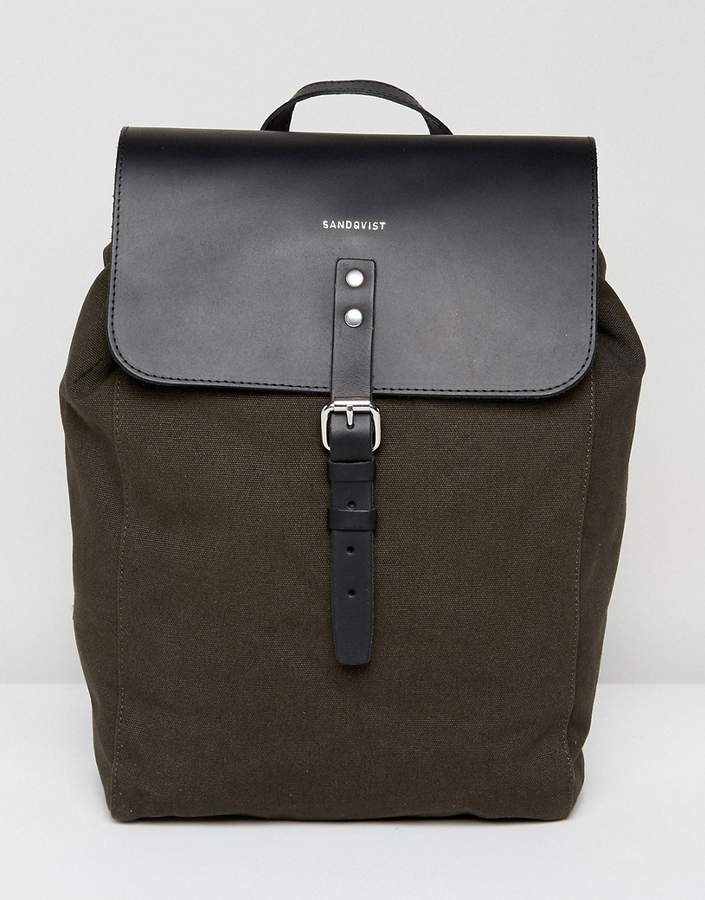 SANDQVIST Alva Canvas & Leather Backpack in Grey