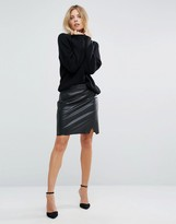 BOSS ORANGE By Hugo Boss Faux Leather Short Black Skirt