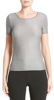 Armani Collezioni Women's Striped Piped Jersey Tee