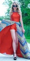 Mac Duggal Halter Chain Aztec Romper with Detachable Overskirt
