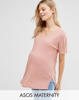 Asos Slouchy T-Shirt in Rib With V-Neck