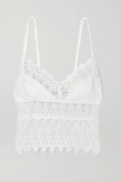 Thumbnail for your product : Charo Ruiz Ibiza Dana Cropped Crocheted Lace-paneled Cotton-blend Top - White