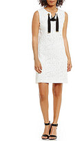 Jones New York Grommet Trim Lace-Up Neck Lace Shift Dress