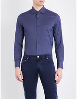 Corneliani Micro-pattern Regular-fit Spread-collar Cotton Shirt