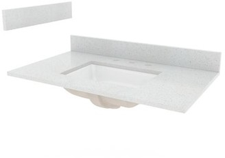 "Hazelwood Home Engineered Stone 37"" Single Bathroom Vanity Top Hazelwood Home"