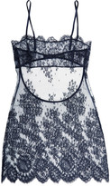 I.D. Sarrieri Chantilly Lace And Tulle Chemise - Midnight blue