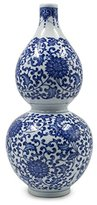 Dahlia Ancient Lucky Lotus Motif Blue and White Porcelain Flower Vase, 12 Inches, Gourd Vase