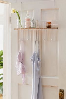 Urban Outfitters Devon Over-The-Door Multi-Hook Shelf - White ALL at